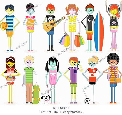 Group of cartoon young people. Cool teenagers