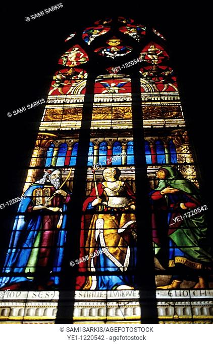 Renaissance stained glass window in the Auch Cathedral, Auch, France