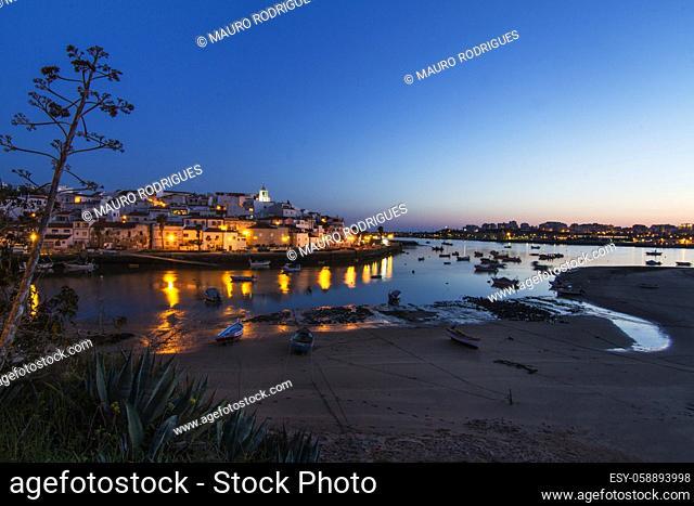 Landscape view of the beautiful coastal village, Ferragudo, located in the Algarve, Portugal