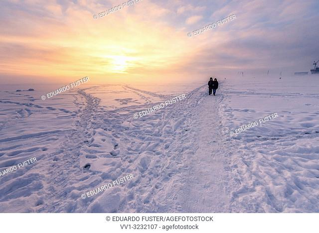 Frozen Baltic sea with snow in winter and sunset at St Petersburg, Russia