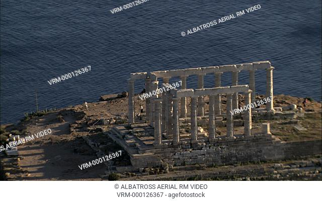 Aerial HD video of cape Sounio in Athens. An ancient Greek Temple of Poseidon