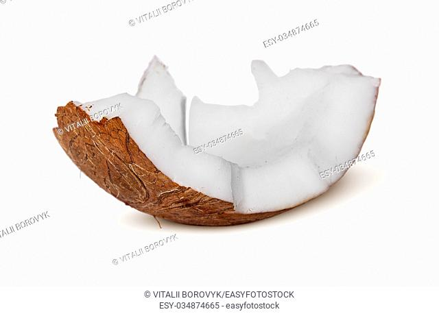 Single piece of coconut pulp isolated on white background