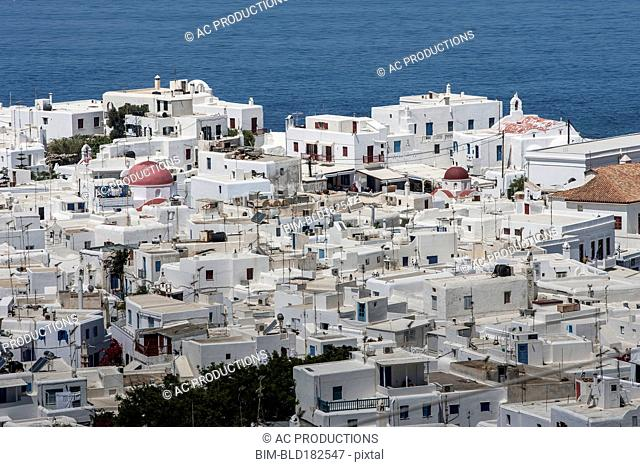 Aerial view of Mykonos cityscape, Cyclades, Greece