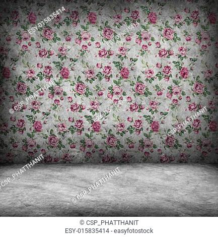 Concrete wall and floor texture with rose wallpaper , Grunge des