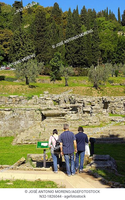 Fiesole, Etruscan temple ruins, Florence province, Tuscany, Italy, Europe