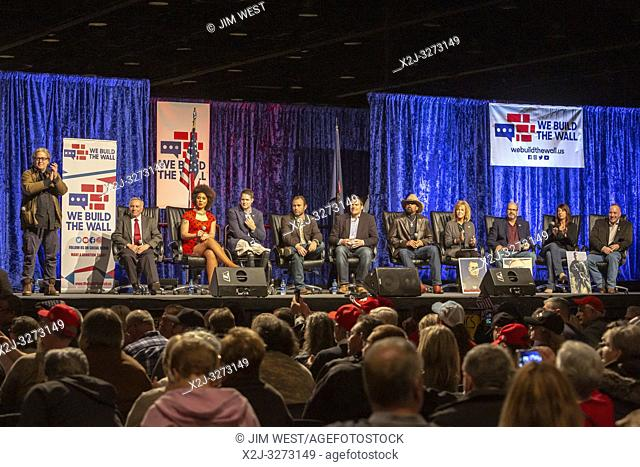 Detroit, Michigan USA - 14 March 2019 - Steve Bannon (left) and other immigration hard liners held a public meeting to promote construction of a wall along the...