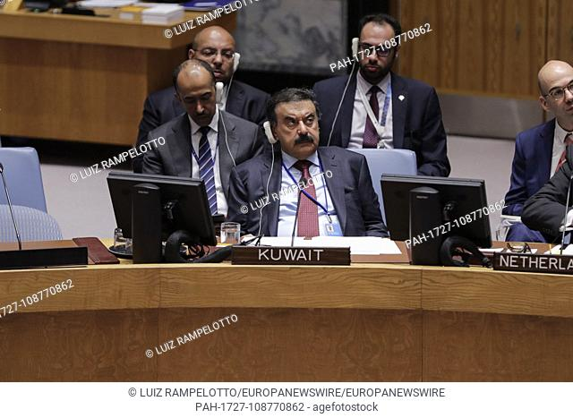 United Nations, New York, USA, September 07, 2018 - Deputy Prime Minister and Foreign Minister of Kuwait Sheikh Sabah Khaled Al-Hamad Al-Sabah during a Security...