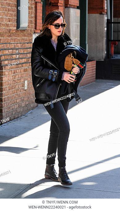 Dakota Johnson leaving her hotel in New York Featuring: Dakota Johnson Where: Manhattan, New York, United States When: 25 Feb 2015 Credit: TNYF/WENN