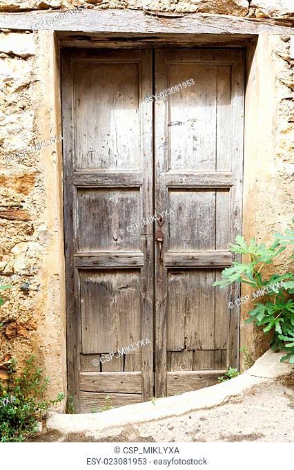 old vintage green wooden door