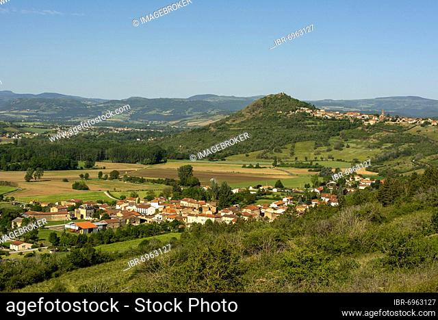 View of the villages of Orsonnette and Nonette near the town of Issoire, Puy de Dome department, Auvergne-Rhone-Alpes, France, Europe