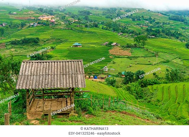 Rustic wooden hut, stable and rural landscape view. Agriculture, farmland landscape background
