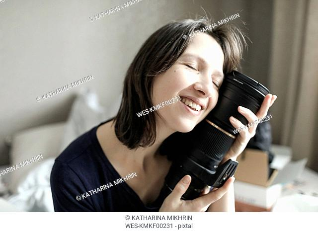 Woman enjoying her new lens