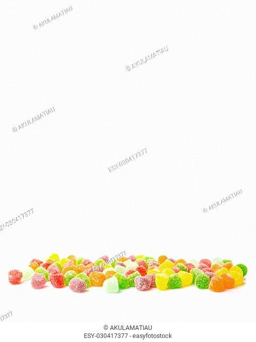 Colorful mix sugar jelly candy over white background