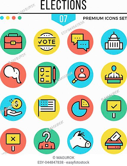 Elections icons. Modern thin line icons set. Premium quality. Outline symbols, graphic elements, concepts, flat line icons for web design, mobile apps, ui