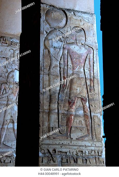 Abydos, Egypt, the mortuary temple of pharaoh Seti I, Menmaatra, XIX° dyn, 1321-1186 B.C.-View of a carved column in the courtyard