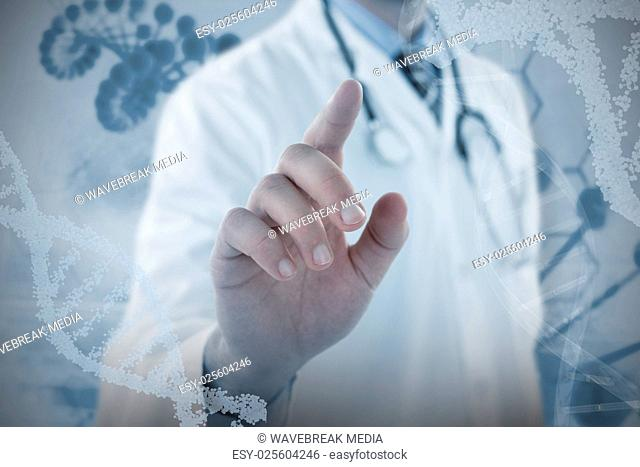 Composite image of midsection of doctor touching digital screen