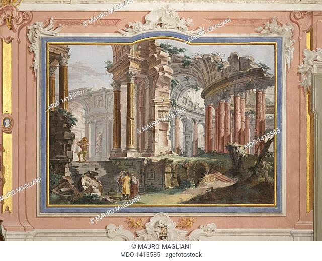Architectural Capriccio, by Francesco Chiarottini, 1786, 18th Century, fresco. Italy, Friuli-Venezia Giulia, Udine, Cividale del Friuli