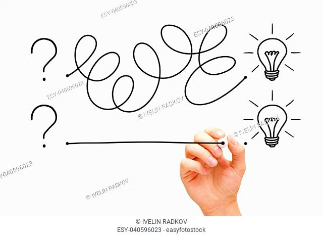 An innovative idea starts with a question, but there are different ways to acheve it. Hand drawing a concept with black marker on transparent wipe board