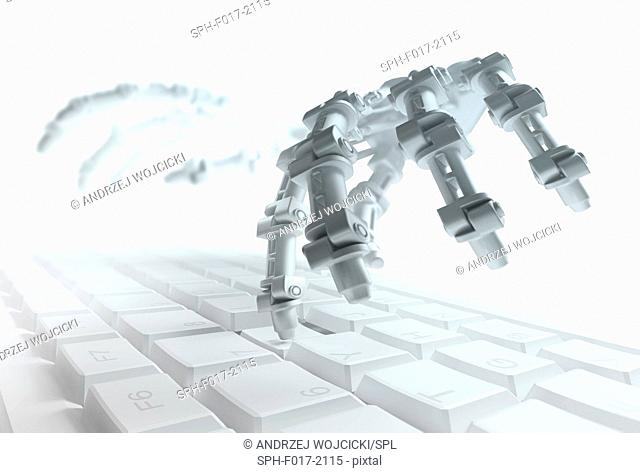 Robotic hand typing on a computer keyboard, illustration