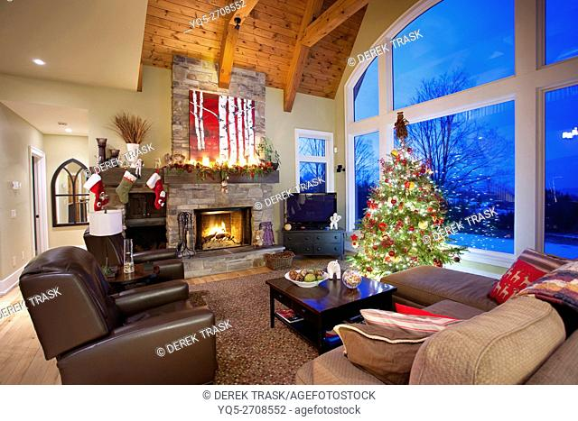 Christmas tree in living room with fireplace, North America, Canada, Ontario