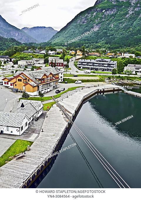 The village of Eidfjord at the end of the Eid Fjord in Norway