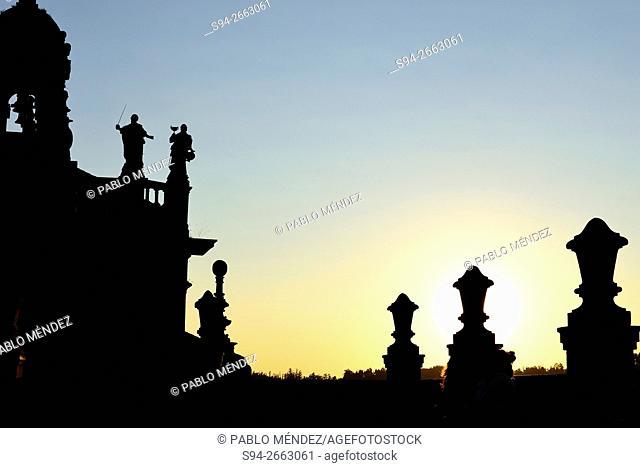 Silhouette of San Fructuoso church, Santiago de Compostela, Galicia, Spain