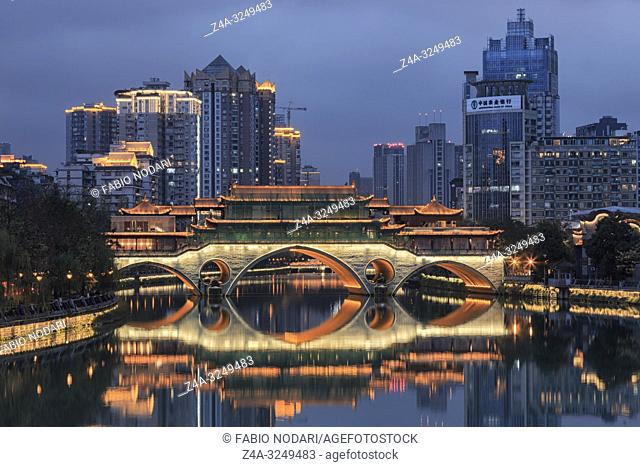 Chengdu, China - December 9, 2018: Close up of the Anshun bridge at dusk, one of the landmarks of the city
