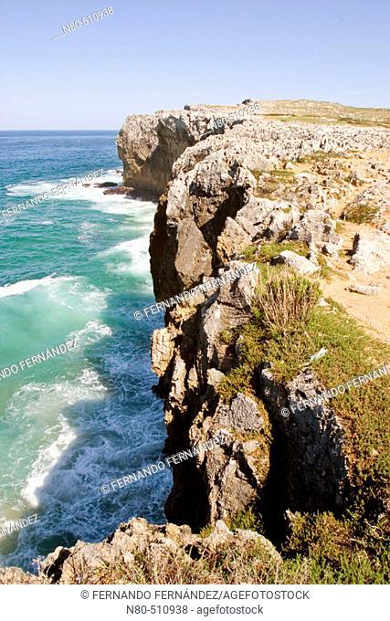 Limestone cliffs. Llames de Pría. Llanes, Asturias, Spain