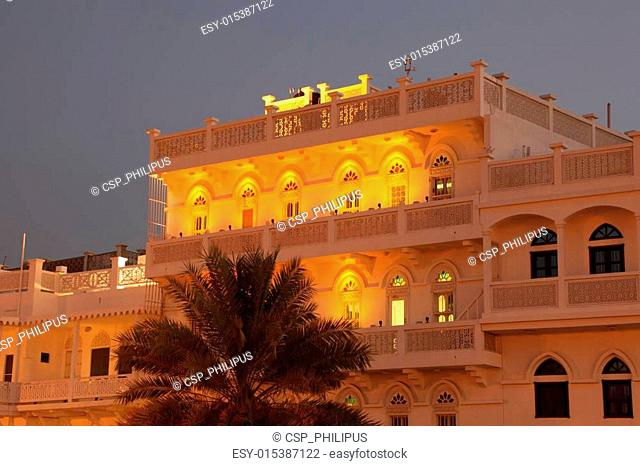 Old building in Muscat illuminated at night