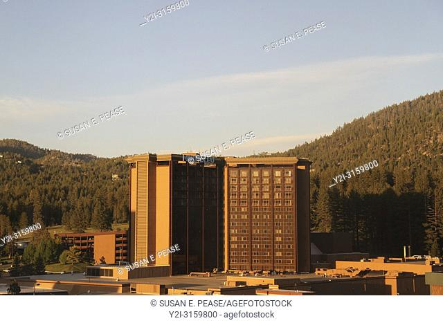 A golden hour view of MontBleu Resort, Casino and Spa, Stateline, Nevada, United States