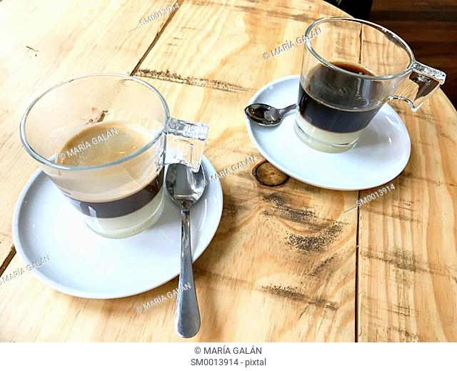 Two cups of Bombon coffee