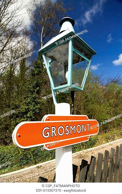 Grosmont, old railroad platform lamp with sign