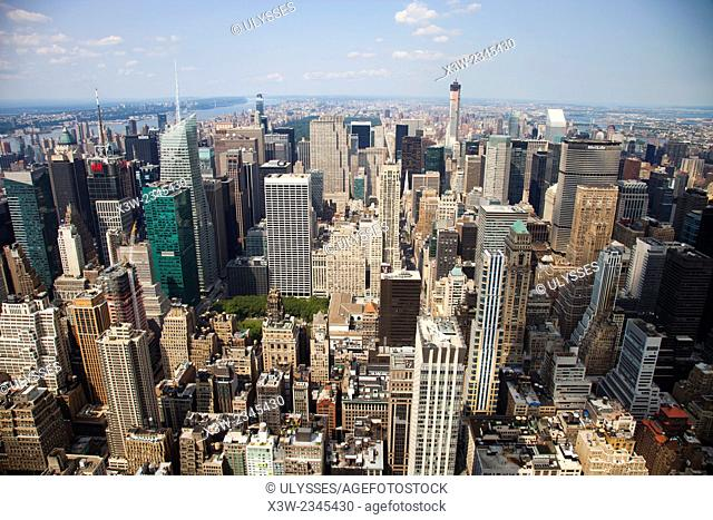 cityscape from empire state building, midtown, skyscrapers, financial district, Manhattan, New York, Usa, America
