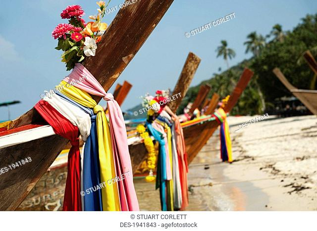 decorations on the bow of long-tail boats on phi phi islands, phuket thailand