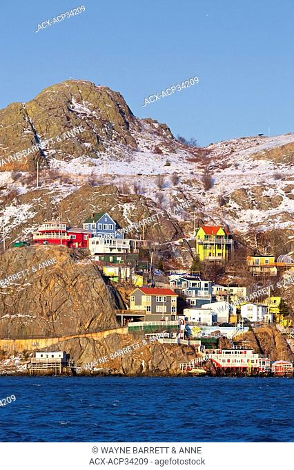 The Battery in winter, St. John's harbour, Newfoundland and Labrador, Canada