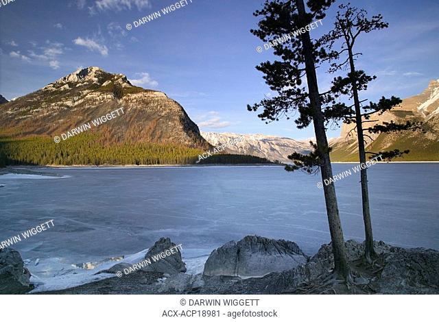 Lake Minnewanka shoreline during spring melt, Banff National Park, Alberta, Canada