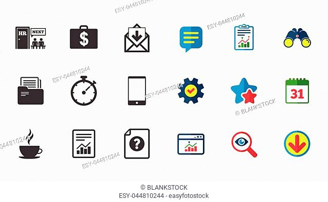 Office, documents and business icons. Accounting, human resources and phone signs. Mail, salary and statistics symbols. Calendar, Report and Download signs