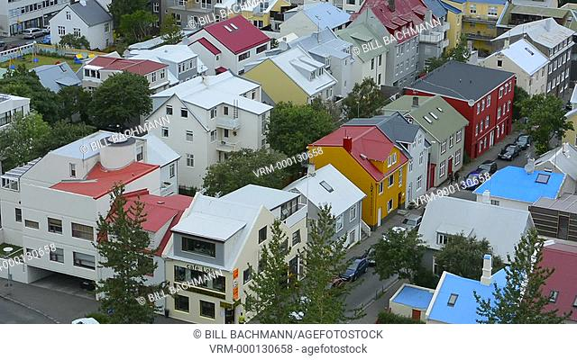Reykjavik Iceland downtown houses from above in Hallgrims Church of colorful neighborghood houses