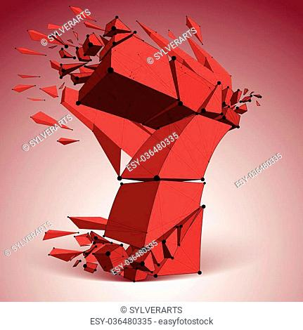 Abstract vector low poly wrecked red number 7 with black lines and dots connected. 3d origami futuristic font with lines mesh