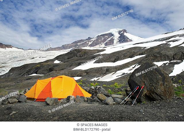 Tent at campsite in remote landscape