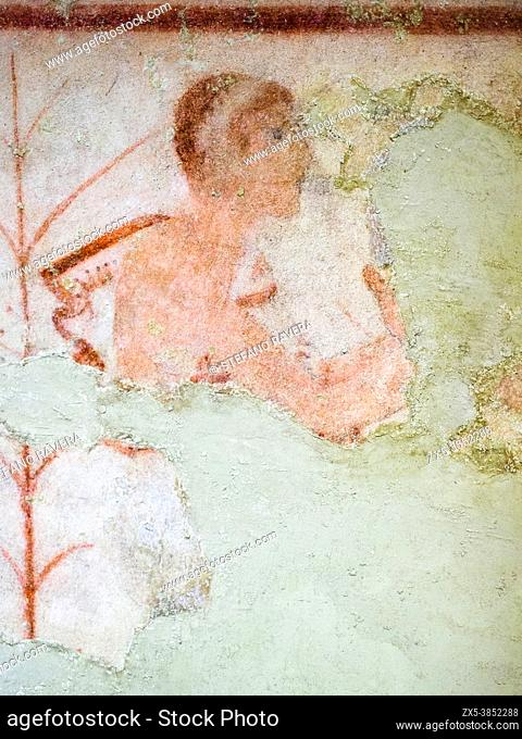 Fresco painted wall detail in Tomba delle Olimpiadi (tomb of the olympics) 6th century BC - Tarquinia National Archaeological Museum, Italy