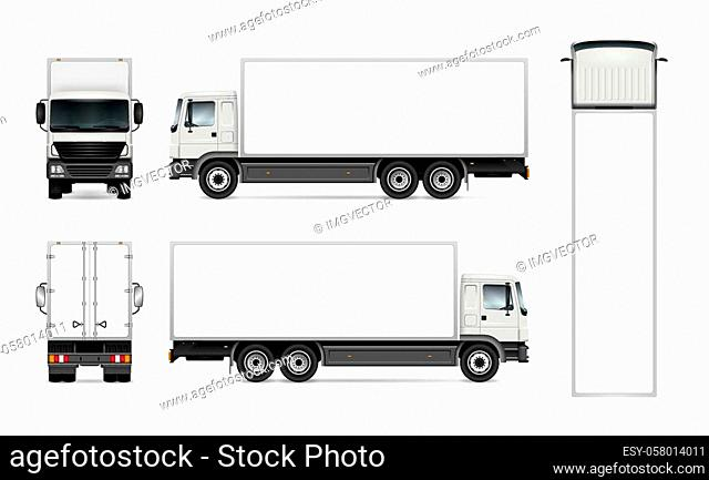 Semi truck template for car branding and advertising. Isolated cargo vehicle set on white background. All layers and groups well organized for easy editing and...