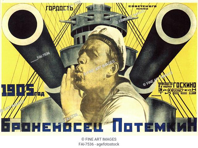 Movie poster The Battleship Potemkin. Lavinsky, Anton Mikhaylovich (1893-1968). Colour lithograph. Soviet Art. 1926. Russian State Library, Moscow