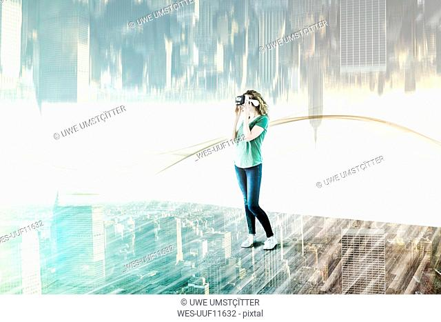 USA, New York City, young woman using Virtual Reality Glasses, composite