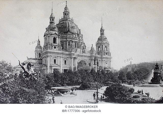 Lustgarten, Pleasure Garden, and Berlin Cathedral, Germany, historical illustration, about 1899