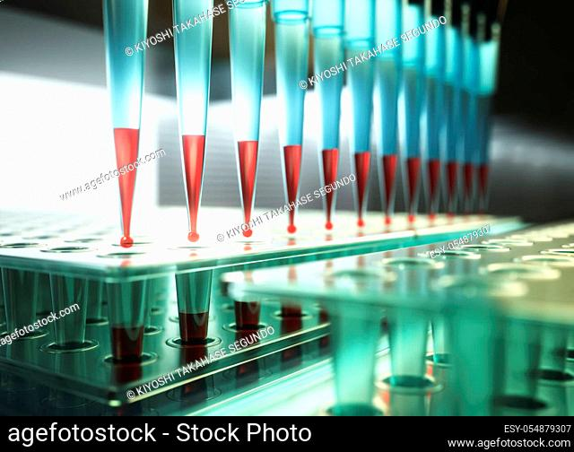 Multichannel pipette and multi well plates used in microbiology lab. 3D illustration