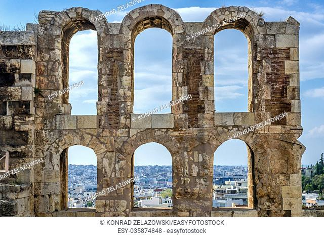 Details of Odeon of Herodes Atticus, part of ancient Acropolis of Athens city, Greece