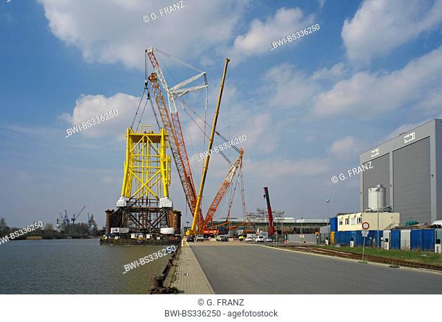 shipping of substation for offshore wind farms in harbour , Germany, Bremerhaven