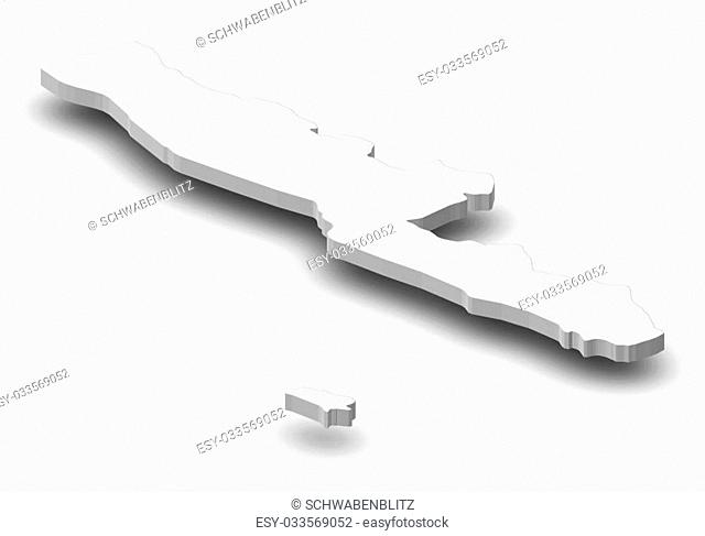Map of Bengkulu, a province of Indonesia, as a gray piece with shadow