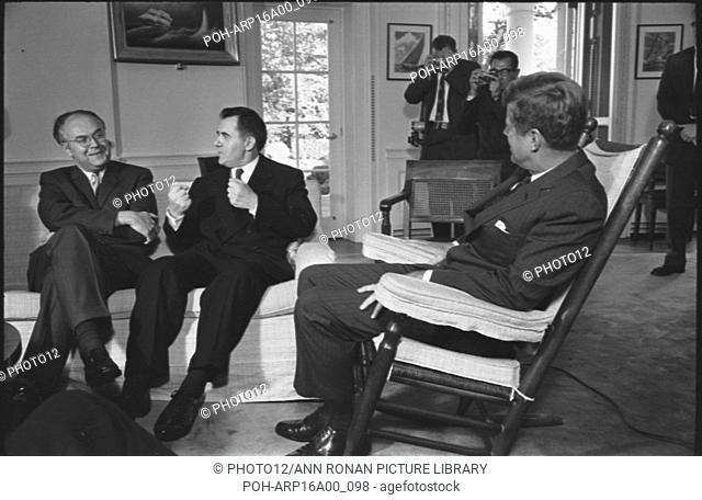 Left to right, Soviet ambassador to the USA, Anatoly F. Dobrynin and Soviet foreign minister Andrei Gromyko, talking with President john F Kennedy